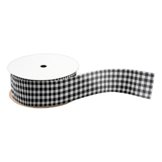 Black and White Gingham Pattern Ribbon Grosgrain Ribbon