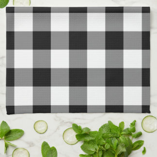 Black and White Gingham Pattern Tea Towel
