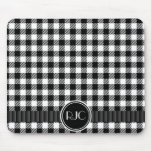 Black And White Gingham Plaid Pattern Personalised Mouse Mats