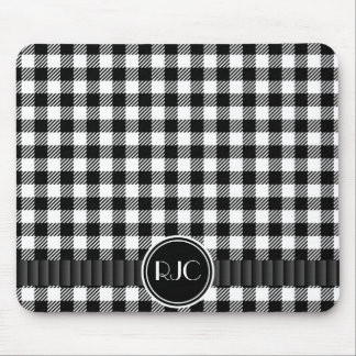 Black And White Gingham Plaid Pattern Personalized Mouse Mat