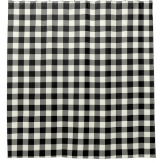 Black and White Gingham Shower Curtains