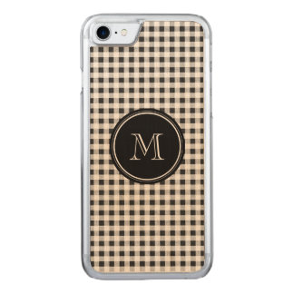 Black and White Gingham, Your Monogram Carved iPhone 8/7 Case