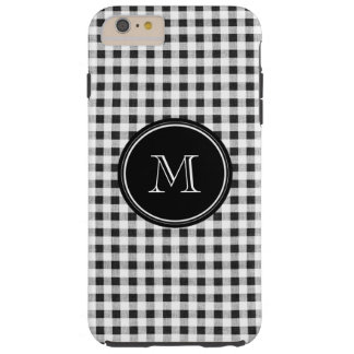 Black and White Gingham, Your Monogram Tough iPhone 6 Plus Case