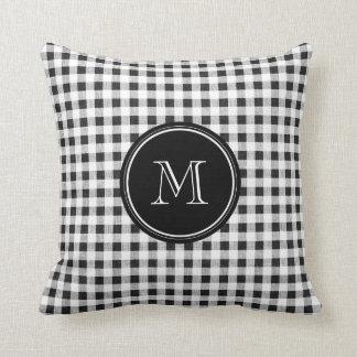 Black and White Gingham, Your Monogram Cushion