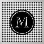 Black and White Gingham, Your Monogram Print