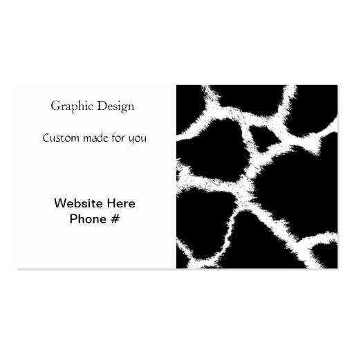 Black and White Giraffe Pattern Business Card Templates