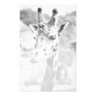 Black and White Giraffe Portrait Photography Customized Stationery