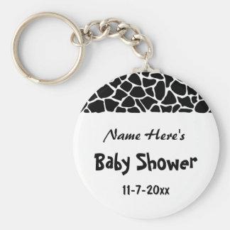 Black and White Giraffe Print Baby Shower Key Chain