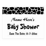 Black and White Giraffe Print Baby Shower Postcard