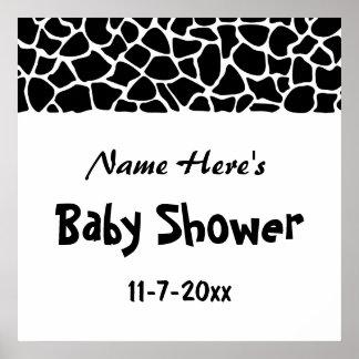 Black and White Giraffe Print Baby Shower