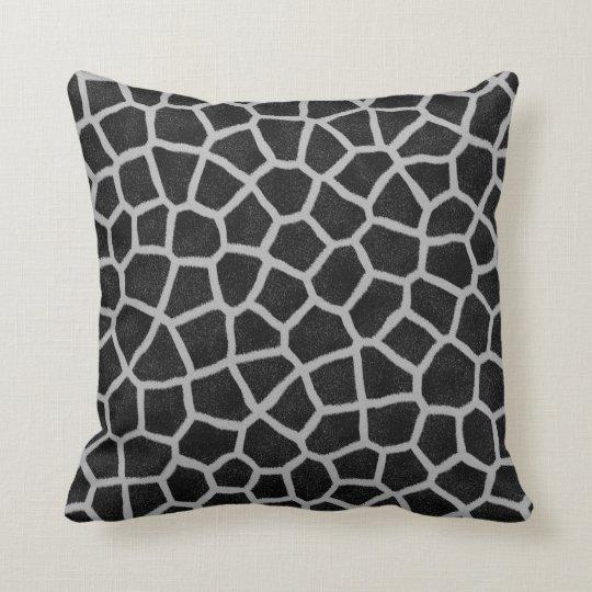 Black and White Giraffe Print Cushion