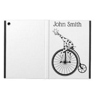 Black and white giraffe riding a bike iPad air cover