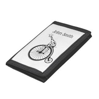 Black and white giraffe riding a bike tri-fold wallets