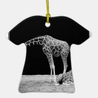 Black and White Giraffes Two Giraffes Double-Sided T-Shirt Ceramic Christmas Ornament