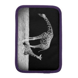 Black and White Giraffes Two Giraffes iPad Mini Sleeves