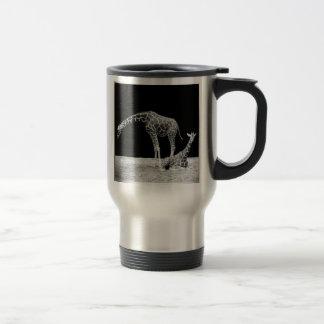Black and White Giraffes Two Giraffes Stainless Steel Travel Mug
