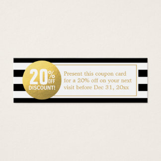 Black and White Gold Beauty Salon Discount Coupon Mini Business Card