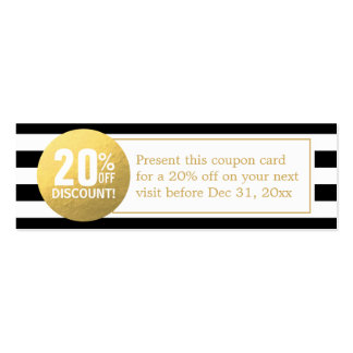 Black and White Gold Beauty Salon Discount Coupon Pack Of Skinny Business Cards