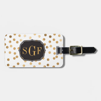 Black and White Gold Glitter City Dots Monogram Luggage Tag