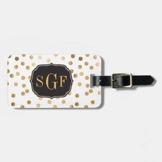 Black and White Gold Glitter City Dots Monogram Travel Bag Tag