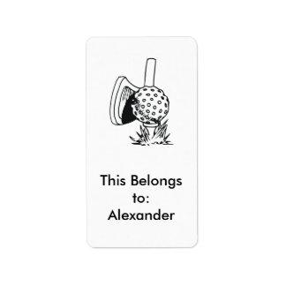 black and white golf design label