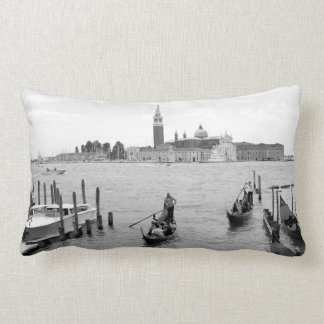 Black and White Gondola in the city of Venice Lumbar Pillow