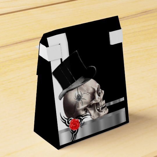 Black and white gothic groom skull goth wedding