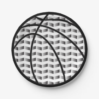 Black and White Gradient Basketball Paper Plates