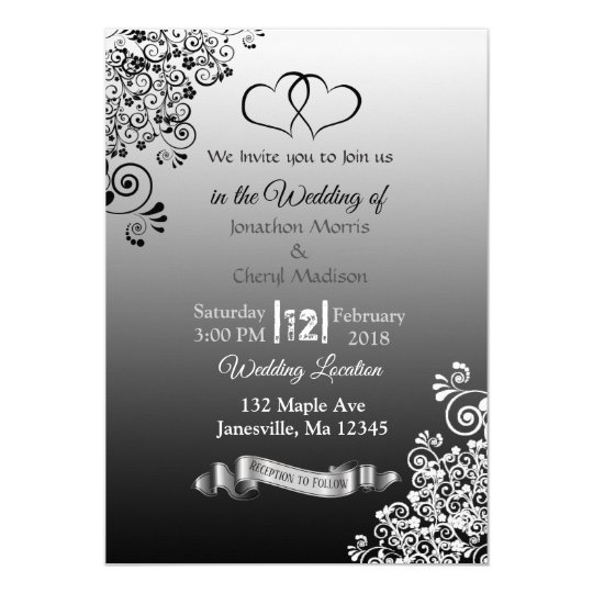 Black and White Gradient Wedding Invitations