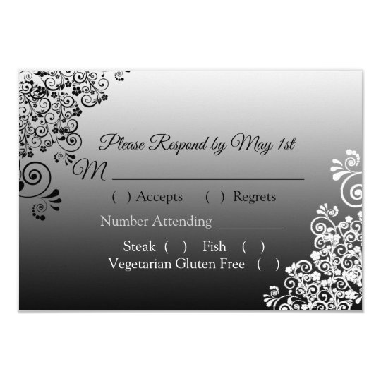 Black and White Gradient Wedding RSVP card