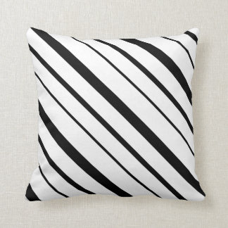 Black and White Graduated Stripes Throw Pillow