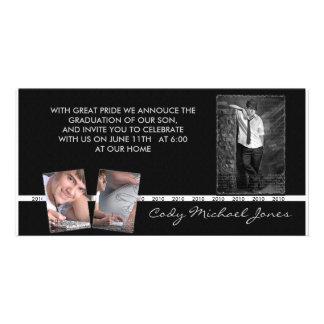 Black and White Graduation Annoucment & Invite Photo Greeting Card
