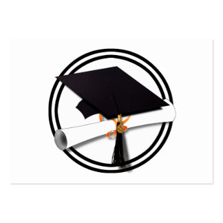 Black and White Graduation Cap with Diploma Business Card
