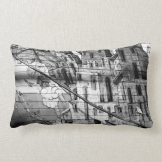 Black and White Graffiti in San Francisco Lumbar Cushion