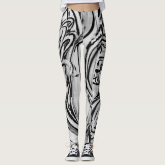 Black and White Graffiti Leggings
