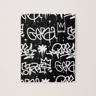 Black and White Graffiti pattern Jigsaw Puzzle