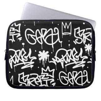 Black and White Graffiti pattern Laptop Sleeves