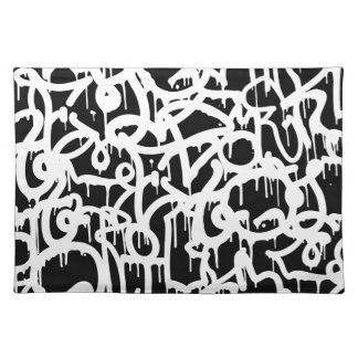 Black and White Graffiti pattern Placemat