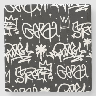 Black and White Graffiti pattern Stone Coaster