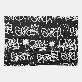 Black and White Graffiti pattern Tea Towel