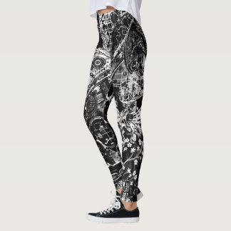 black and white graffiti print leggings