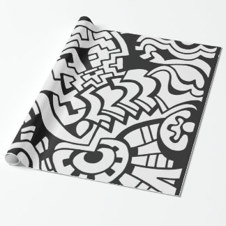 Black and white graffiti street art wrapping paper