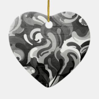 Black and White Graffiti Swirl Pattern in San Fran Ceramic Heart Decoration