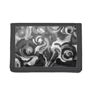 Black and White Graffiti Swirl Pattern in San Fran Tri-fold Wallet
