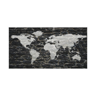 Black and White Graffiti World Map Canvas Print