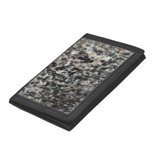 Black and White Granite Mineral Texture Trifold Wallet
