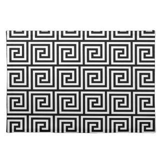 Black and White Graphic Greek Key Pattern Place Mats