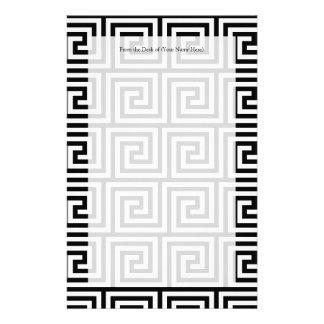 Black and White Graphic Greek Key Pattern Stationery