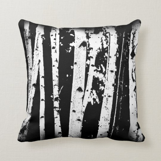 Black and White Graphic Paper Birch Trees Cushion