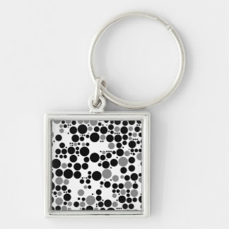 Black and white grayscale retro circles keychain